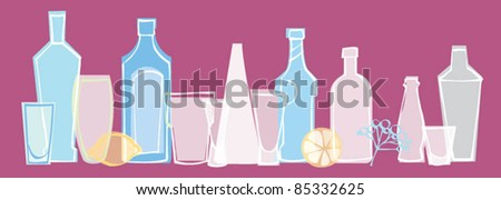 Different alcoholic drinks bottles and glasses in row