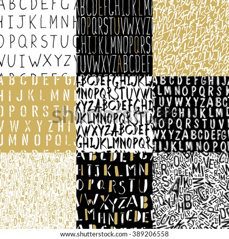 Different Alphabets Seamless Patterns Collection - stock vector