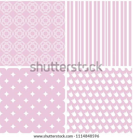 Different Baby Seamless Patterns Wallpaper Web Stock Vector