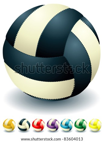 Different bicolored isolated volleyballs - stock vector