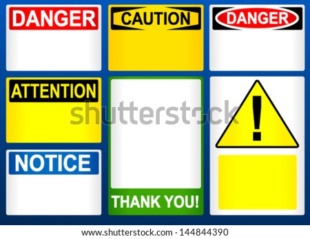 Different blank attention/danger/caution and other signs, notices - stock vector