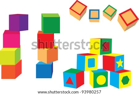different blocks on a white background - stock vector