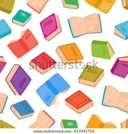 Different books seamless pattern for decorations, web pages, print, textile or interior design. . Vector illustration of color cartoon books isolated on white. Literature for learning and reading.  - stock vector