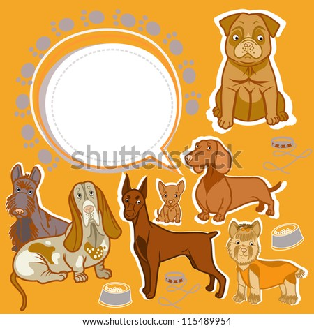 different breeds of dogs - stock vector