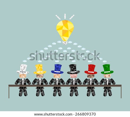 Different but creative. Meeting team. Brainstorm - stock vector