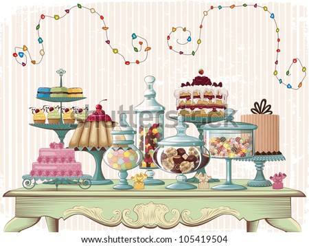 Different cakes and glass jars with candies set on the old-fashioned table. All objects are grouped and separated to layers. - stock vector