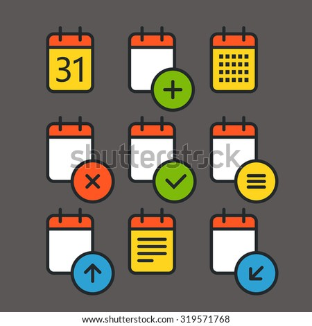 Different calendar color icons set with rounded corners. Flat design elements - stock vector