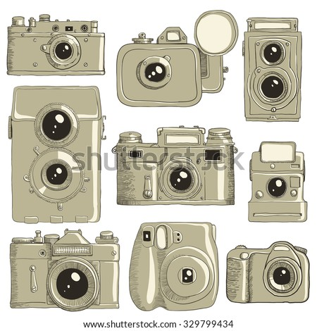 Different cameras hand drawn in vector