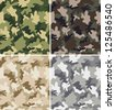 Different Camouflage Seamless Patterns - stock photo