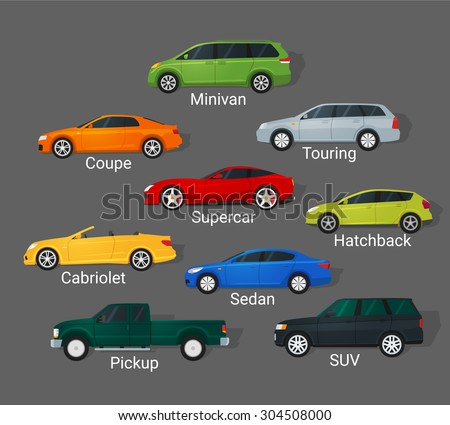 Different car types icons set in detailed flat style. Sedan and minivan, hatchback and coupe. Car sale concept. - stock vector