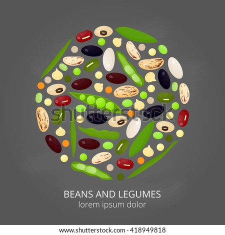 Different cartoon legumes in circle on chalkboard background. Kidney, lima, navy, black, cranberry, asparagus, adzuki, pinto, soy, mung, green beans, peas, chickpeas, lentils. - stock vector