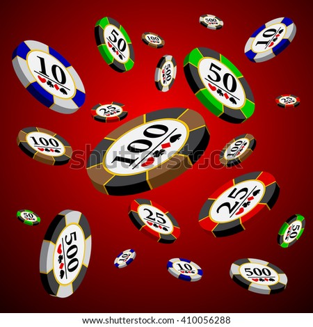 Different casino chips over red background - stock vector