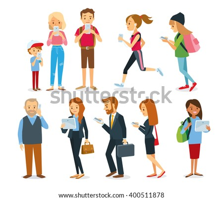different characters with gadgets - stock vector