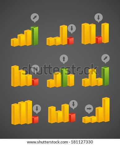 Different charts collection. Vector template - stock vector