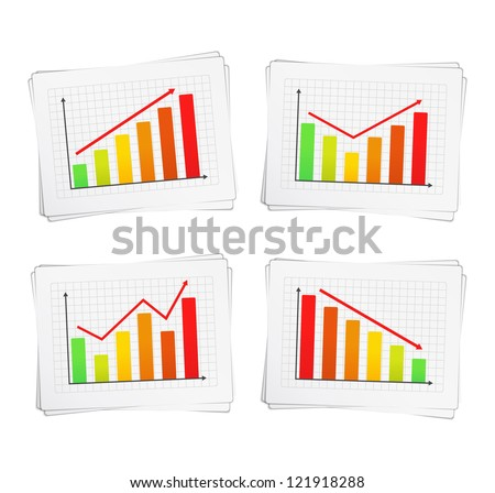 Different charts with arrows, vector eps10 illustration - stock vector