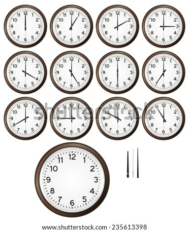 Different clocks - with clock details - stock vector