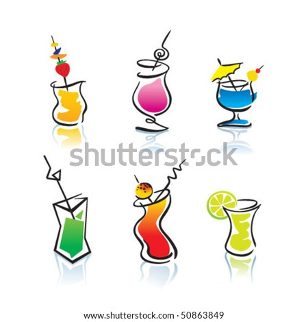 Different cocktails. Vector illustration. - stock vector