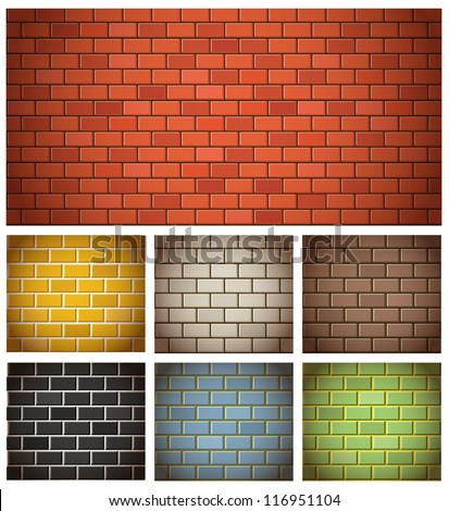 Different color brick textures collection - stock vector