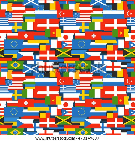 Different color flags seamless pattern