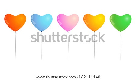 different color of inflated balloons, shape of heart, balloons for birthday party or celebration