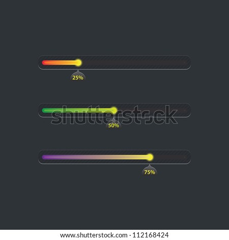 Different color vector progress bars - stock vector
