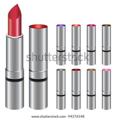 Different colored closed lipsticks - stock vector