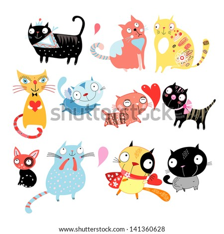 Different colored funny cats on a white background