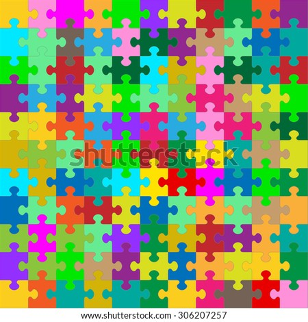 Different Colored 121 Puzzle Pieces Arranged in a Square - JigSaw - Vector Illustration