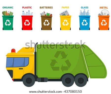 Different colored recycle waste bins and garbage truck vector illustration, Waste types segregation recycling  Organic, batteries, metal plastic, paper, glass  - stock vector