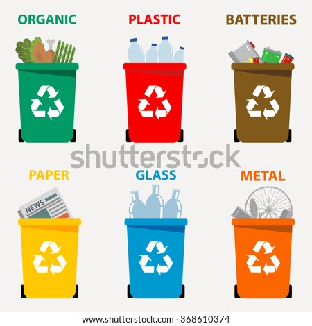 Different colored recycle waste bins vector illustration, Waste types segregation recycling. Organic, batteries, metal  plastic, paper, glass waste.