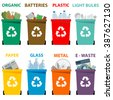 Different colored recycle waste bins, Waste types segregation recycling Organic, batteries, metal plastic, paper, glass, e-waste, light bulbs. - stock vector
