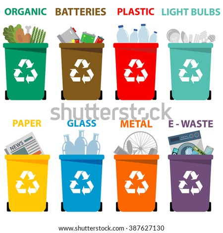 Different colored recycle waste bins, Waste types segregation recycling Organic, batteries, metal plastic, paper, glass, e-waste, light bulbs.