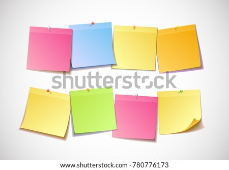 Different Colored Sheets Note Papers Collection Stock Photo (Photo ...