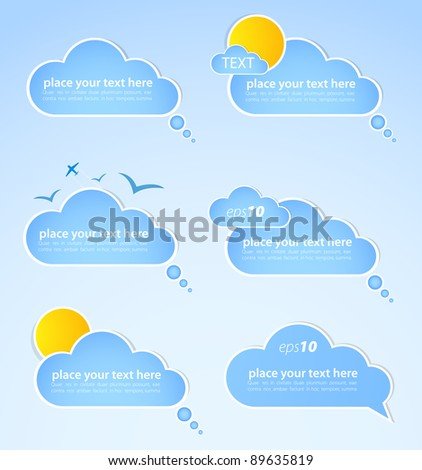 Different colored speech bubbles in weather clouds style. Good weather - stock vector