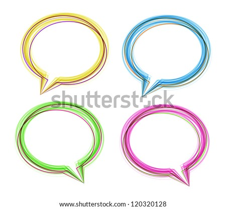 Different colored speech bubbles made of thin contours. Vector image. - stock vector