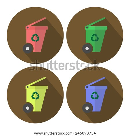 Different Colored wheel bins set flat design icon with long shadow - stock vector
