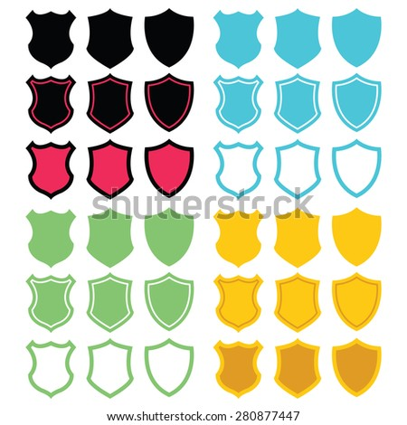 Different colorful shield shapes icons set. Vector illustrations isolated on white background.