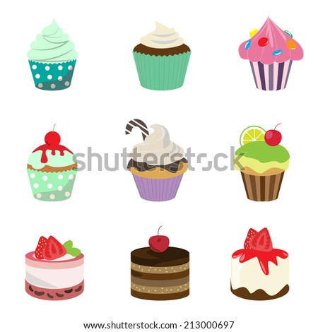 different colorful yummy cakes, vector