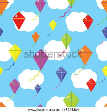 Different colors Kite seamless cloud texture