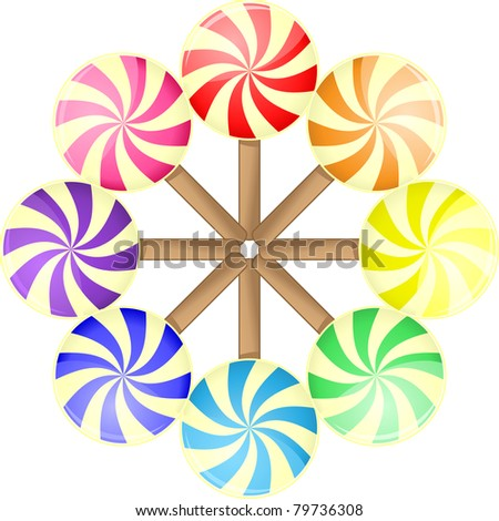 Different colors round candies in circle - stock vector