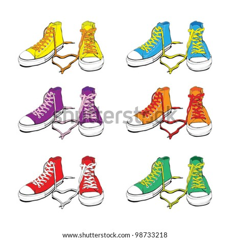 Different Colors Sneakers With Lovely Heart - stock vector