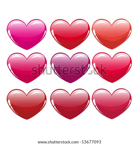 Different colour hearts - stock vector
