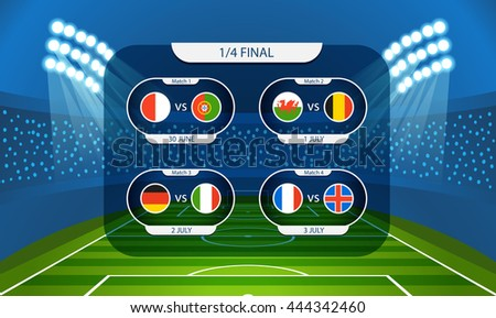 Different country flags collection. Football infographic template - stock vector