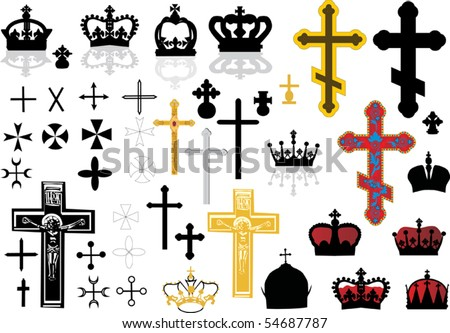 different cross collection isolated on white background - stock vector