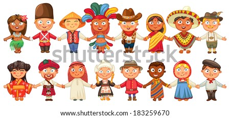 Different culture standing together holding hands. Brazil, Englishman, Chinese, Japanese, American, Mexican, German, Indian, Scotsman, Arab, Canadian, African, Russian, Frenchman, Netherlander, Tahiti - stock vector