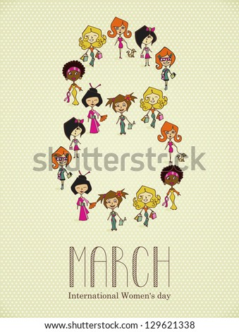 Different cultures women in 8 march Woman Day greeting card. Vector file layered for easy manipulation and coloring. - stock vector