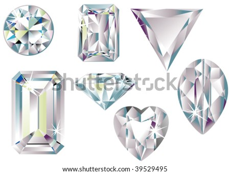 Different cut diamonds - stock vector