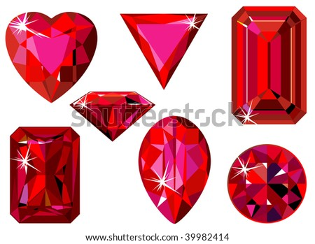 Different cut ruby - stock vector