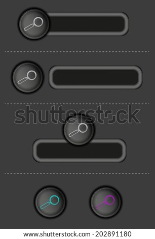 different dark buttons with magnifying glass, vector