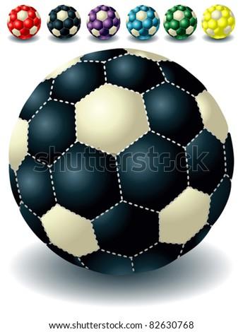 different dark isolated soccer balls - stock vector